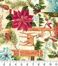 Christmas Cotton Fabric-Compliments Of The Season