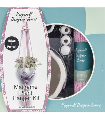 Pepperell Designer Macrame Plant Hanger Kit-Pink