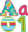 Dots-On-Turquoise Collection: 4 Inch Punch Out Letters