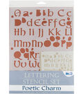 Blue Hills Studio  Lettering Stencil 4 Piece Sets-Poetic Charm
