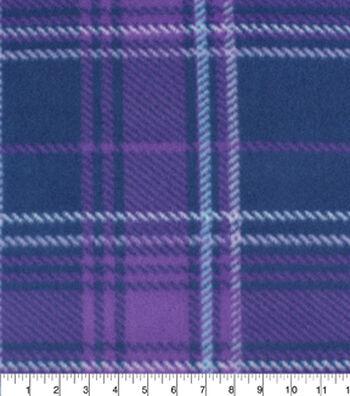 "Blizzard Fleece Fabric 59""-Aspen Purples Plaid"