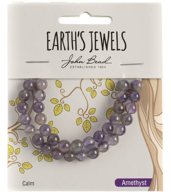 Earth's Jewels Semi-Precious Round 6mm Beads-Amethyst