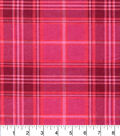 Snuggle Flannel Fabric -Pink Coral Plaid