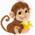 RIOLIS Happy Bee 6\u0027\u0027x6\u0027\u0027 Counted Cross Stitch Kit-Monkey