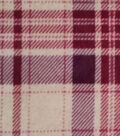Luxe Fleece Fabric -Oatmeal & Burgundy Plaid