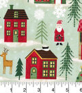 Cotton Fabric -Snowmen and Houses