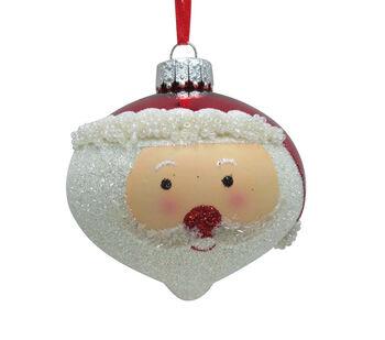 Handmade Holiday Christmas Ho-Ho-Ho Glass Santa Onion Ornament