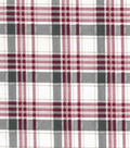 Vintage Cotton Fabric -Red & Gray Box Plaid on White