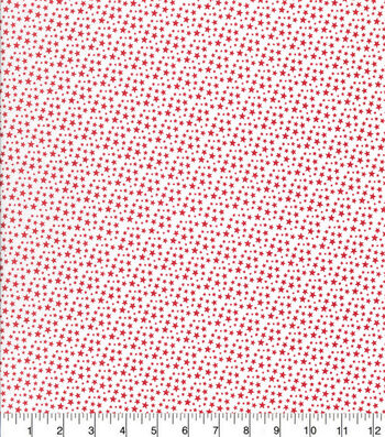 Patriotic Cotton Fabric-Mini Red Stars on White