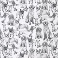 Snuggle Flannel Fabric-Sketched Pups on White