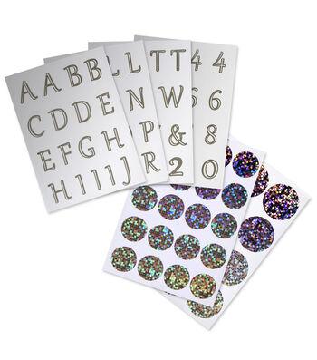 David Tutera Letter, Number&Round Embellishment Stickers