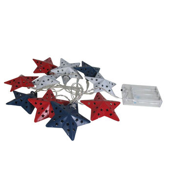 Americana Patriotic 65'' Cut-out Red, White & Blue Stars String Lights