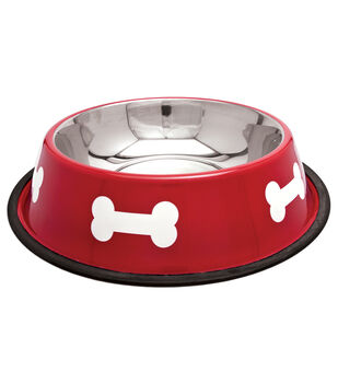 Westminster Pet Products Fashion Steel Red With White Bowl Bones 64oz
