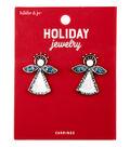 hildie & jo Christmas Holiday Jewelry Angel Earrings-Blue Rhinestones