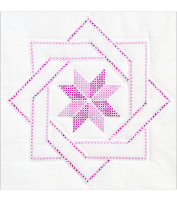 "Stamped White Quilt Blocks 18""X18"" 6/Pkg-Woven Star"