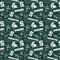 Michigan State University Spartans Cotton Fabric-Tone on Tone
