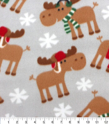 Blizzard Fleece Fabric -Winter Moose