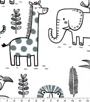 Nursery Flannel Fabric-Sweet Safari Strolling Animals