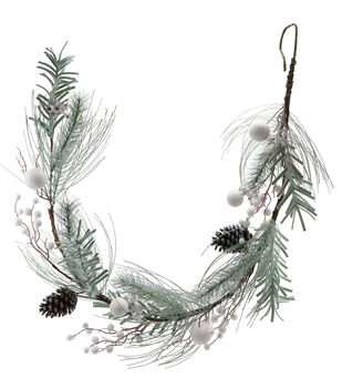 Handmade Holiday Christmas 66'' Frosted Pine & Pinecone Garland