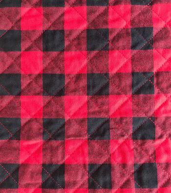 """Doodles Knit Fabric 53""""-Red Black Plaid"""