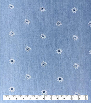Doodles Juvenile Apparel Fabric -White Flowers on Denim