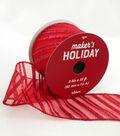 Maker\u0027s Holiday Christmas Ribbon 2.5\u0027\u0027x25\u0027-Red Glitter Twill Stripes