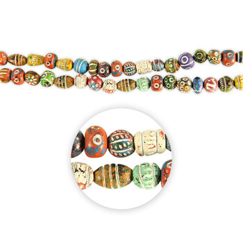 """Blue Moon Beads Strand 14""""Clay Rounds&Rondelles, Multi, Handmade"""