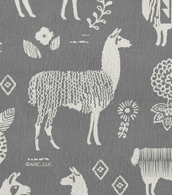 Snuggle Flannel Fabric -Peruvian Llamas Gray