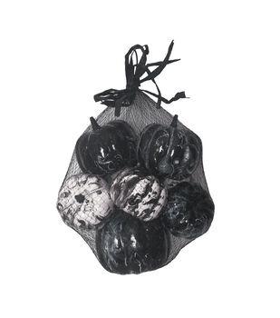 Maker's Halloween 8 pk Marbled Pumpkins in Bag-Black & White