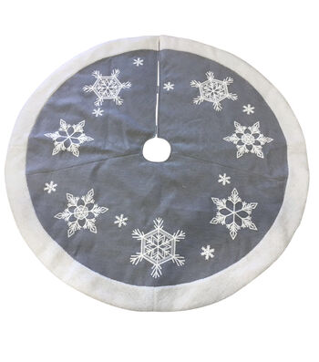 Maker's Holiday Christmas 25''x12'' Tree Skirt-Snowflakes on Gray