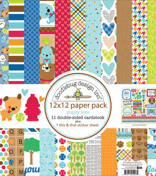 """Doodlebug Double-Sided Paper Pack 12""""X12""""-Puppy Love"""