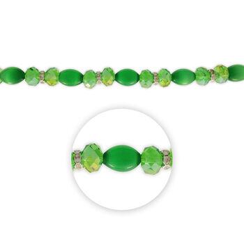 """Blue Moon Beads 7"""" Crystal Strand, Cat's Eye with Metal Spacers, Green"""
