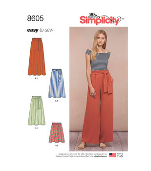 Simplicity Pattern 8605 Misses' Pull-on Skirt & Pants-Size A (XS-XL)