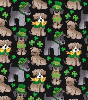 St. Patrick's Day Cotton Fabric -Pups & Shamrocks Black