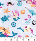 Snuggle Flannel Fabric 42\u0022-Mermaid Friends