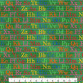 Novelty Cotton Fabric-School Letters Green