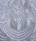 Casa Embellish Dahlia Fabric-Serenity Deco Sequins on Mesh