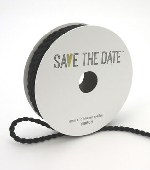Save the Date Cord Ribbon 4mmx15'-Black