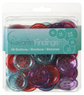 Favorite Findings 40 Glitter Pop Big Buttons-Red Purple Blue