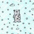 Nursery Flannel Fabric-Wild Bear on Mint Plaid