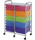 Blue Hills Studio Double Storage Cart with 15 Drawers-Multi