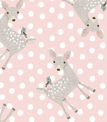 Nursery Flannel Fabric 42''-Dots & Deer on Pink