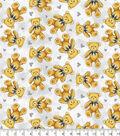 Nursery Flannel Fabric -Teddy Bear Grey