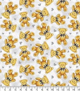 Nursery Flannel Fabric Teddy Bear Grey