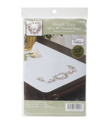Tobin Heart Vine Stamped White Dresser Scarf For Embroidery 14''x39''