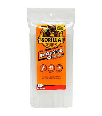 """Gorilla 20pk All-Temp Hot Glue Sticks 8"""""""