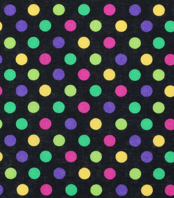 Mardi Gras Cotton Fabric-Multi Dots Black