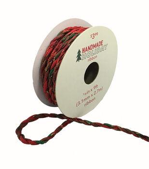 Handmade Holiday Christmas Twist Cord Ribbon 1/8''x9'-Red & Green