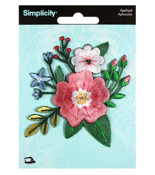 Simplicity Small Thick Stitch Flower Iron-on Applique-Multi
