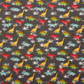 Super Snuggle Flannel Fabric-Bright Dinos on Gray